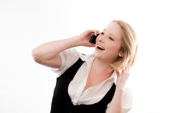 Junge Frau auf Mobile Stockfotografie