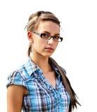 Junge Frau auf Weiß Stockfotos