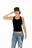Junge Frau bei der Tarnung-Hut-Begrüßung lizenzfreie stockfotos