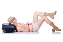 Junge Frau bereit zu den Sommerferien Stockbild