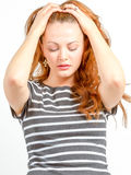 Junge Frau in beunruhigtem Zustand des Seins Lizenzfreies Stockbild