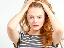 Junge Frau in beunruhigtem Zustand des Seins Lizenzfreie Stockbilder