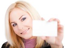 Junge Frau businesscard Lizenzfreie Stockfotografie
