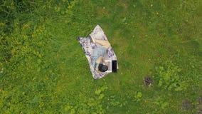 Junge Frau der Draufsicht, die Laptop in der Natur verwendet Mädchen mit einem Laptop im Park stock footage