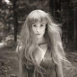 Junge Frau der Fantasie im Holz Lizenzfreie Stockbilder