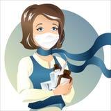 Junge Frau in der Gesundheitsschablone Stockbild