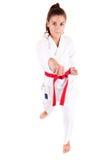 Junge Frau in der Karateausstattung Lizenzfreie Stockbilder