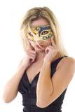 Junge Frau in der Karnevalsschablone Stockfotos