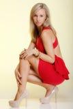 Junge Frau der Mode Aufstellung in der in voller Länge. Atelieraufnahme. stockfotos