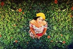 Junge Frau der Schönheit auf der Wiese Stockbild