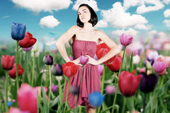 Junge Frau der Schönheit im roten Kleid auf der Wiese Stockbild