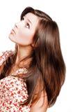 Junge Frau der Schönheit mit den langen Haaren Stockbilder