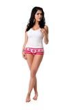 Junge Frau in der weißen Unterwäsche Lizenzfreies Stockfoto