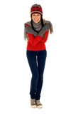 Junge Frau in der Winterkleidung Lizenzfreies Stockbild