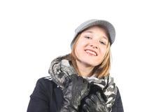 Junge Frau in der Winterkleidung Lizenzfreies Stockfoto