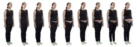 Junge Frau des Fotos während der Schwangerschaft in den Jeans Stockfotos