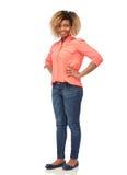 Junge Frau des glücklichen Afroamerikaners über Weiß Lizenzfreie Stockbilder