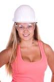 Junge Frau des Industriearbeiters lizenzfreies stockfoto