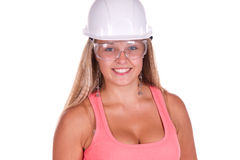 Junge Frau des Industriearbeiters stockbild
