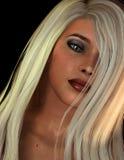 Junge Frau des Portraits mit dem langen blonden Haar Stockfotos
