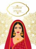 Junge Frau des schönen indischen Brunette in der bunten Sari vektor abbildung