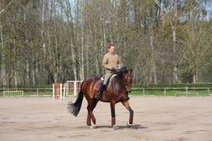 Junge Frau, die auf das Pferd trottet Lizenzfreie Stockbilder