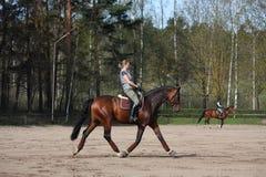 Junge Frau, die auf das Pferd trottet Lizenzfreies Stockfoto