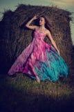 Junge Frau, die auf dem Abendgebiet über Heuschober steht Modeschweinestall stockbild