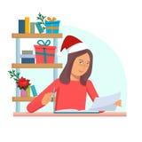 Junge Frau, die auf dem Tisch sitzen und Ablesenbuch Weihnachten im Büro mit Geschenken Zeichentrickfilm-Figur-Vektorillustration lizenzfreie abbildung