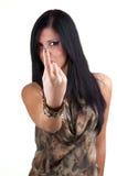 Junge Frau, die auf Sie zeigt Lizenzfreie Stockfotos