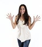 Junge Frau, die Aufregung zeigt Lizenzfreie Stockfotos