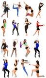 Junge Frau, die Collage - Yoga, Eignung, pilates, Aerobic auf lokalisiert ausübt Lizenzfreie Stockbilder