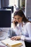 Junge Frau, die am Computer studiert Lizenzfreie Stockbilder