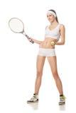 Junge Frau, die das Tennis lokalisiert auf Weiß spielt Stockfotos