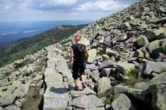 Junge Frau, die in den Bergen wandert stockfotografie