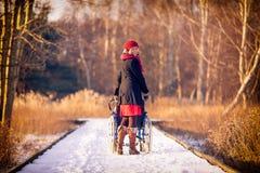 Junge Frau, die den Rollstuhl im Park laufen lässt Lizenzfreie Stockfotos