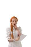 Junge Frau, die in der Überraschung reagiert Lizenzfreies Stockbild