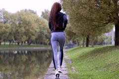 Junge Frau, die in der Herbstnatur auf der Bank von Fluss rüttelt Laufende Eignungsmädchen-Rückseitenansicht Lizenzfreies Stockfoto
