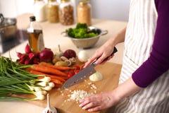 Junge Frau, die in der Küche kocht Gesunde Nahrung Stockbilder