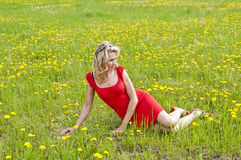 Junge Frau, die in der Wiese sitzt Stockfoto