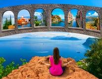 Junge Frau, die draußen meditiert stockfotografie