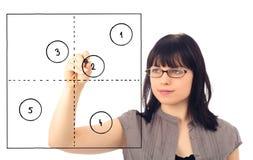 Junge Frau, die ein generisches Portfolio 2x2 zeichnet Lizenzfreie Stockfotos