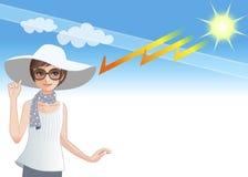 Junge Frau, die einen breiten geströmten Hut trägt, um sich vor Sonnenlicht zu schützen Stockbild