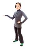 Junge Frau, die etwas darstellt Lizenzfreies Stockfoto