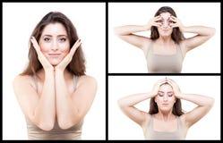 Junge Frau, die Gesichtsyogahaltung tut stockbilder
