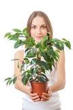 Junge Frau, die Houseplant, isolaterd auf Weiß hält stockfotografie
