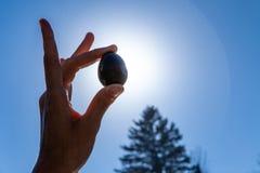 Junge Frau, die ihr heiliges yoni Jade-Ei oben im Himmel hält lizenzfreie stockfotografie