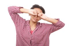 Junge Frau, die ihre Augen reibt Lizenzfreies Stockfoto