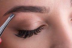 Junge Frau, die ihre Augenbrauen im Schönheitssaal auszupft Stockbild