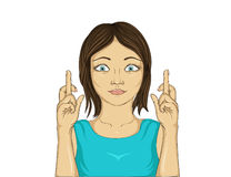Junge Frau, die ihre Finger kreuzt Glückliches Mädchen macht einen Wunsch stock abbildung